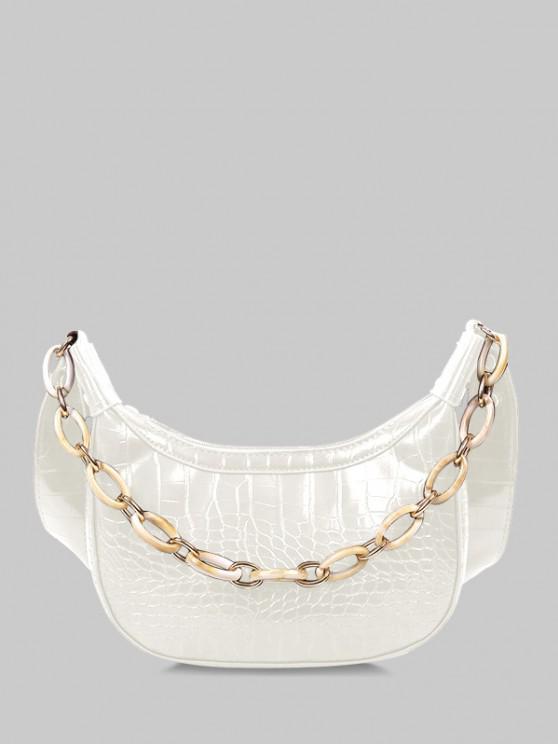 chic Chain Textured Crossbody Bag - WHITE