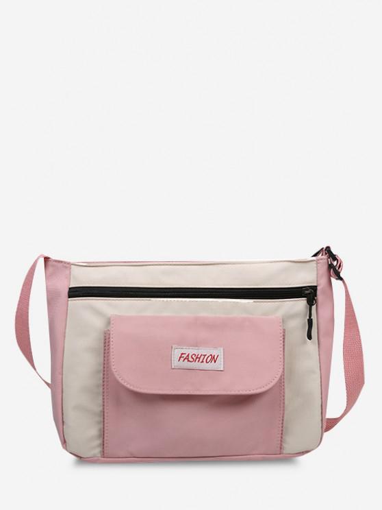 fashion Letter Pattern Colorblock Crossbody Bag - PINK