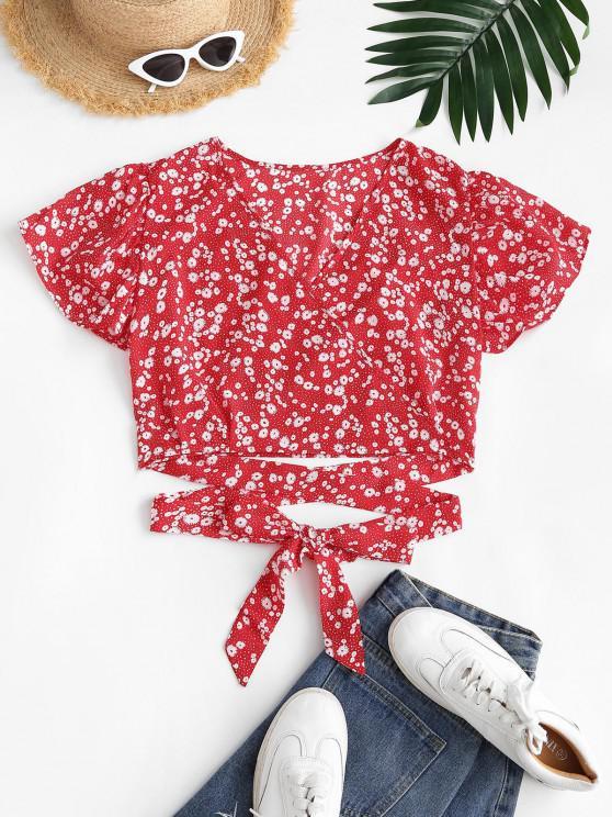Ditsy Floral Surplice Flutter Sleeve Blouse - أحمر M