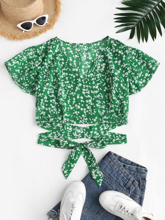 online Ditsy Floral Surplice Flutter Sleeve Blouse - GREEN S
