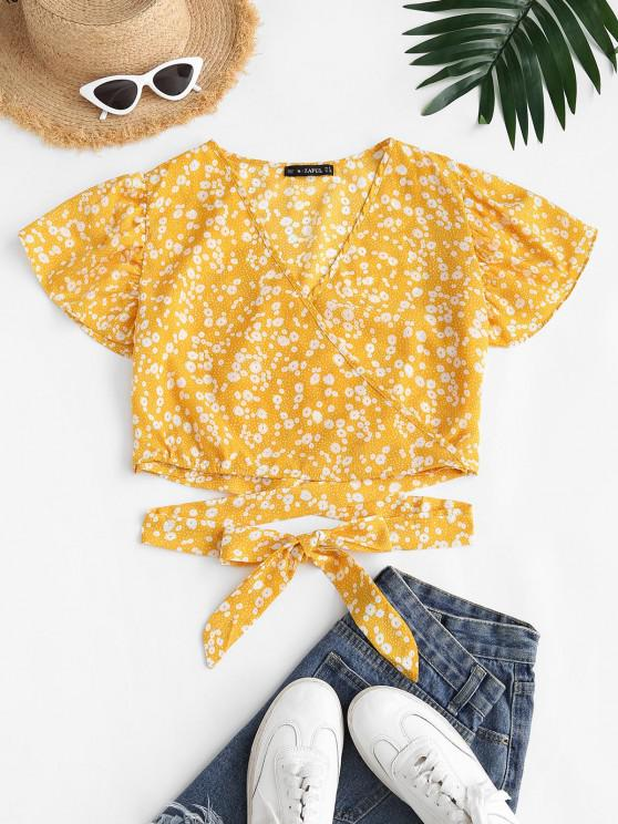 fashion Ditsy Floral Surplice Flutter Sleeve Blouse - YELLOW S