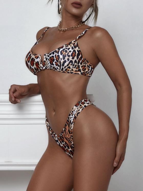 ZAFUL Leopard V-wire High Cut Bikini Swimwear - القهوة العميقة S