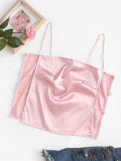 Satin Ladder Cutout Crop Cami Top - Light Pink S