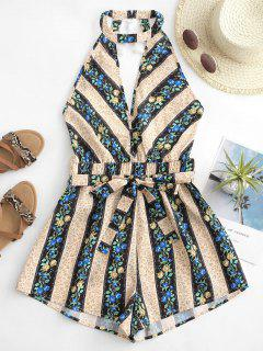 Tiny Flower Striped Tassel Cutout Belted Romper - Multi Xl