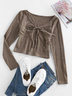 ZAFUL Knitted Tie Front Cropped T Shirt - Deep Coffee S