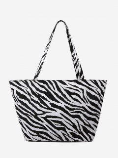Zebra Print Large Capacity Canvas Tote Bag - Black