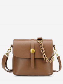 Solid Double Strap Flap Crossbody Bag - Light Brown