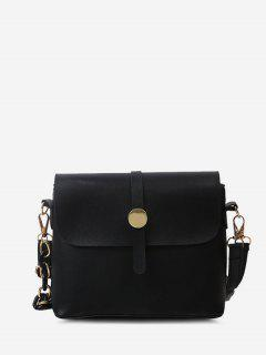 Solid Double Strap Flap Crossbody Bag - Black