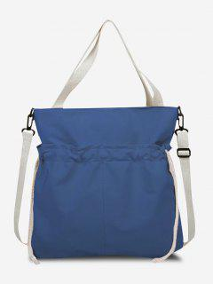 Drawstring Dual Handle Oversize Tote Bag - Light Slate Blue