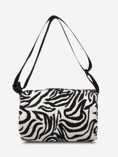 Zebra Print Casual Canvas Crossbody Bag - Black