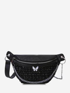 Butterfly Tweed Spliced Sequin Bum Bag - Black
