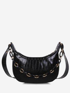 Chain Textured Crossbody Bag - Black