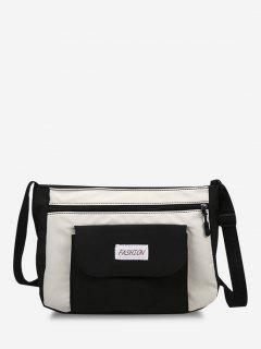 Letter Pattern Colorblock Crossbody Bag - Black