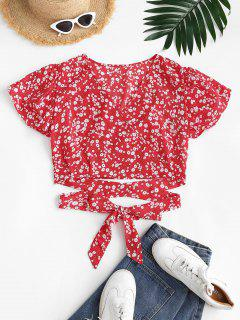 Ditsy Floral Surplice Flutter Sleeve Blouse - Red M