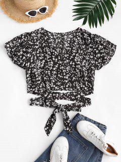 Ditsy Floral Surplice Flutter Sleeve Blouse - Black S