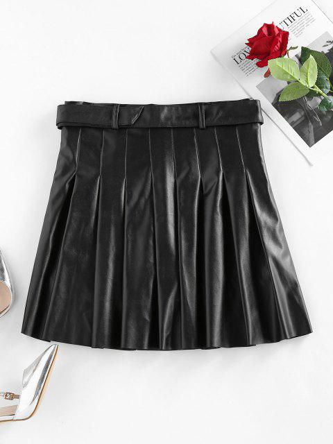 shops ZAFUL Faux Leather Pleated Belted Mini Skirt - BLACK M Mobile