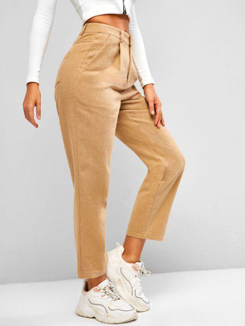 best ZAFUL Pocket Zipper Fly Straight Pants - LIGHT KHAKI M Mobile