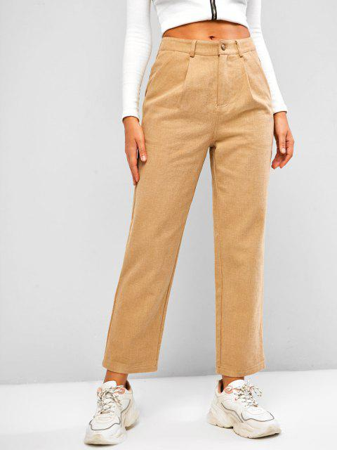 women's ZAFUL Pocket Zipper Fly Straight Pants - LIGHT KHAKI XL Mobile