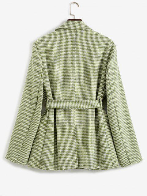 trendy Houndstooth Belted Pocket Blazer - LIGHT GREEN S Mobile