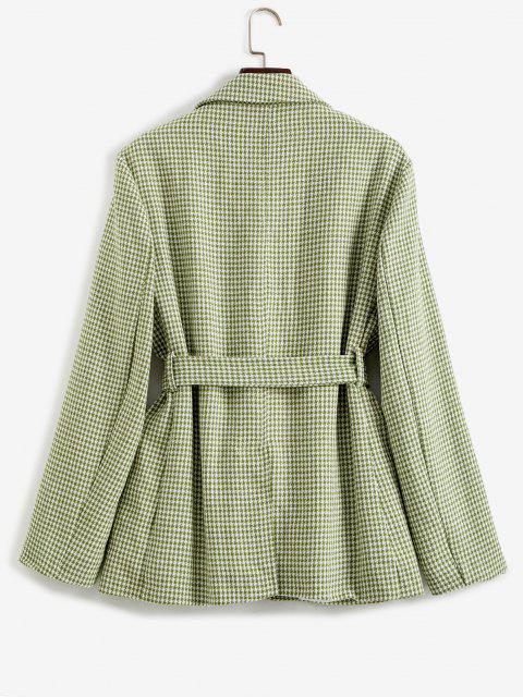chic Houndstooth Belted Pocket Blazer - LIGHT GREEN M Mobile