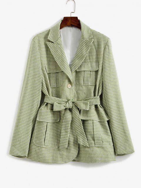 fashion Houndstooth Belted Pocket Blazer - LIGHT GREEN L Mobile