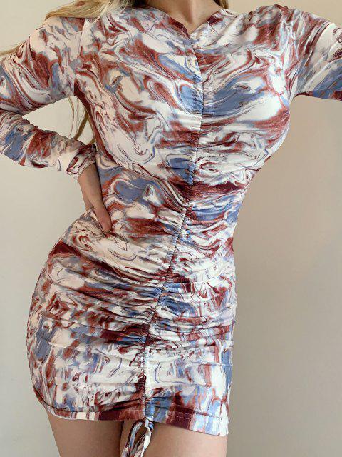 Mini Vestido Cuello V Estampado Étnico - Multicolor S Mobile