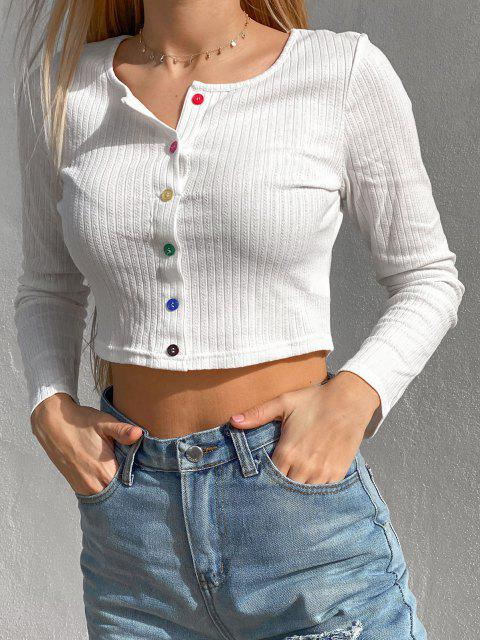 ZAFUL T-shirt Court Côtelé Boutonné - Blanc XL Mobile