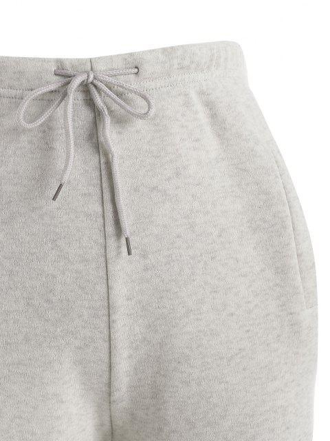 Pantaloni Foderati in Pile con Stampa Mimetica con Coulisse e Tasche - Grigio S Mobile