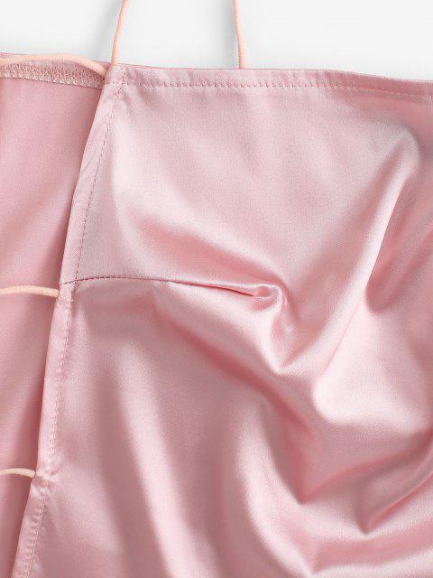Top Cami Barriga de Fora com Recorte de Escada Cortado - Luz rosa M Mobile
