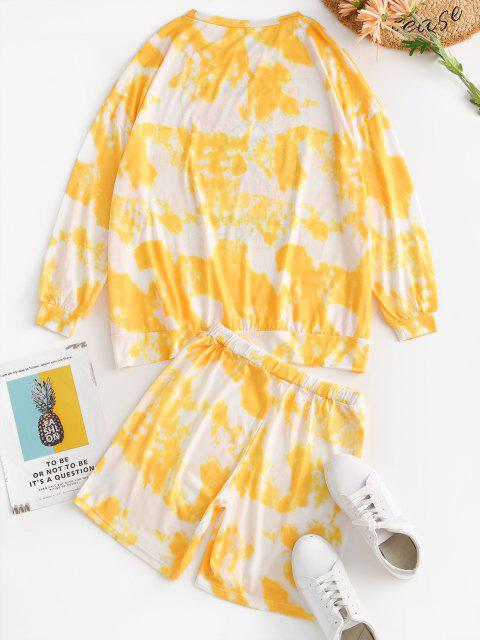 womens Tie Dye Oversized Sun Print Two Piece Shorts Set - YELLOW L Mobile