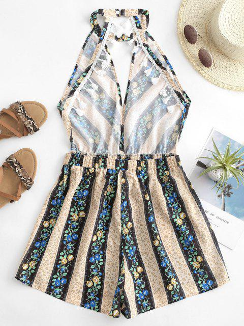 best Tiny Flower Striped Tassel Cutout Belted Romper - MULTI S Mobile