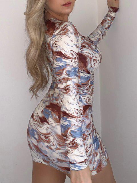 outfits Agate Print Cinched V Neck Mini Dress - MULTI S Mobile