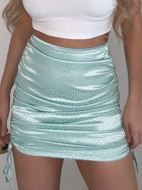 sale Side Cinched Jacquard Satin Skirt - LIGHT BLUE S Mobile