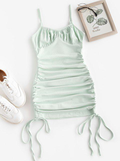 shops ZAFUL Rib-knit Side Cinched Ruched Bodycon Bustier Dress - GREEN XL Mobile