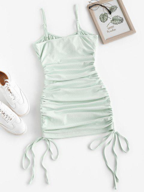 latest ZAFUL Rib-knit Side Cinched Ruched Bodycon Bustier Dress - GREEN S Mobile