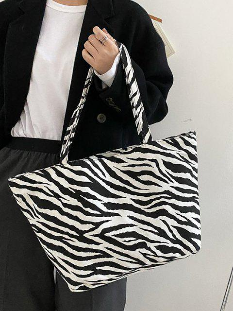 affordable Zebra Print Large Capacity Canvas Tote Bag - BLACK  Mobile
