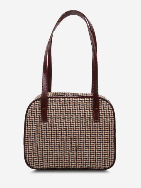 online Retro All-Over Houndstooth Print Shoulder Bag - BROWN  Mobile