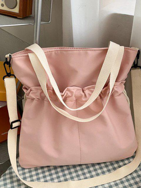 outfits Drawstring Dual Handle Oversize Tote Bag - PIG PINK  Mobile