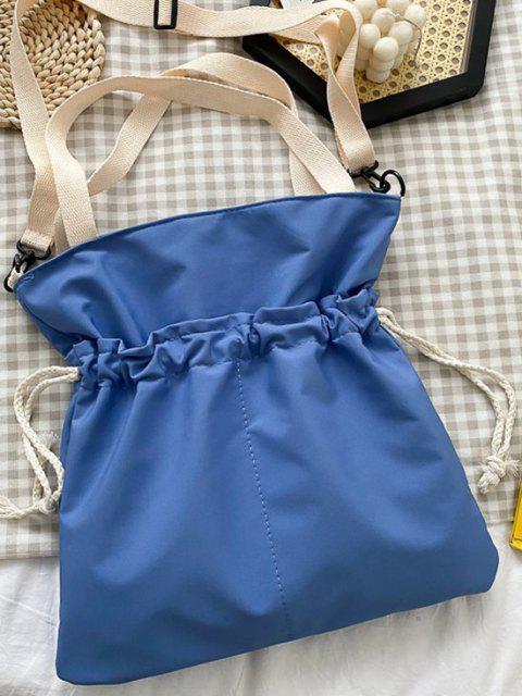 shop Drawstring Dual Handle Oversize Tote Bag - LIGHT SLATE BLUE  Mobile