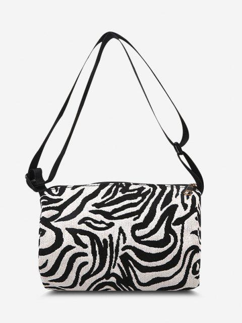 shops Zebra Print Casual Canvas Crossbody Bag - BLACK  Mobile