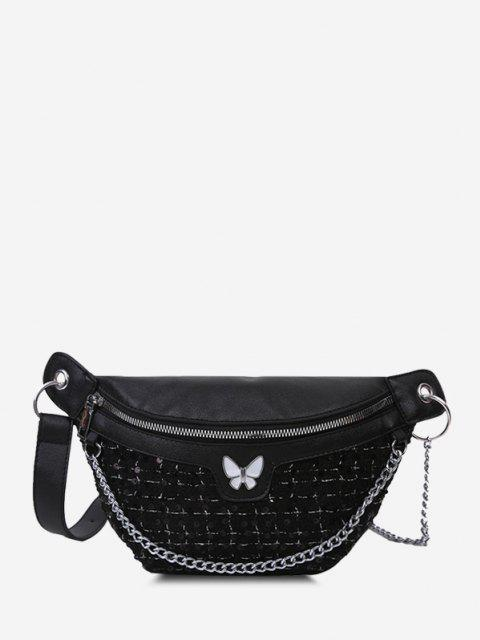 latest Butterfly Tweed Spliced Sequin Bum Bag - BLACK  Mobile