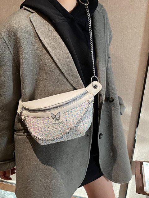Sac Babane Noué avec Paillette en Tweed - Blanc Lait  Mobile