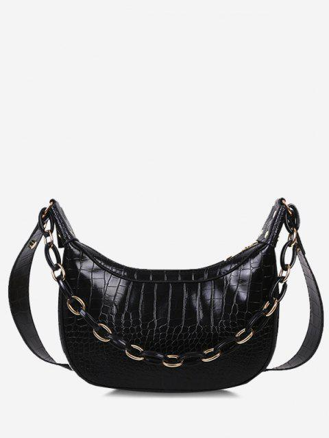 fashion Chain Textured Crossbody Bag - BLACK  Mobile