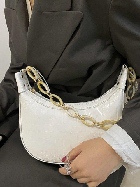 Sac à Bandoulière Texturé avec Chaîne - Blanc  Mobile