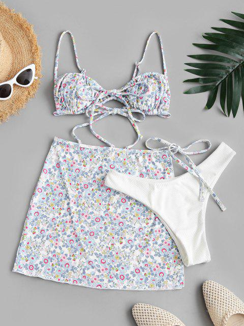 best ZAFUL Floral Ribbed Ties Three Piece Bikini Swimsuit - LIGHT BLUE XL Mobile