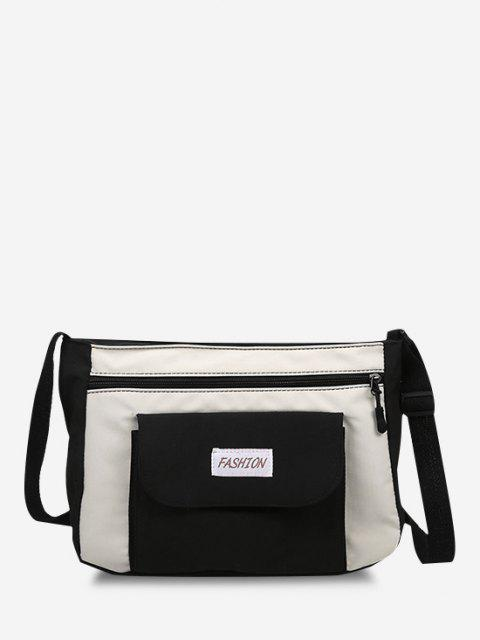 trendy Letter Pattern Colorblock Crossbody Bag - BLACK  Mobile