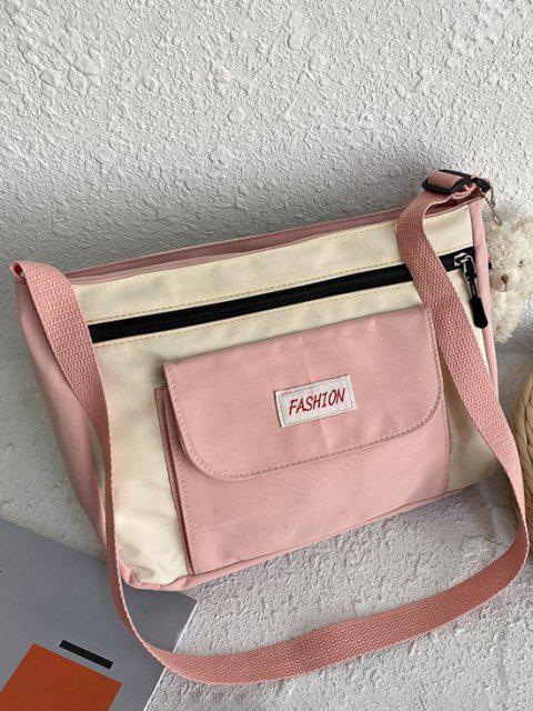 Briefmuster Colorblock Crossbody Bag - Rosa  Mobile