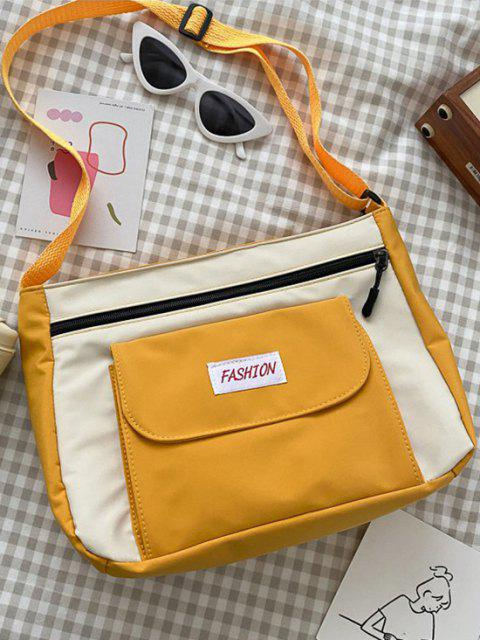 fancy Letter Pattern Colorblock Crossbody Bag - BRIGHT YELLOW  Mobile