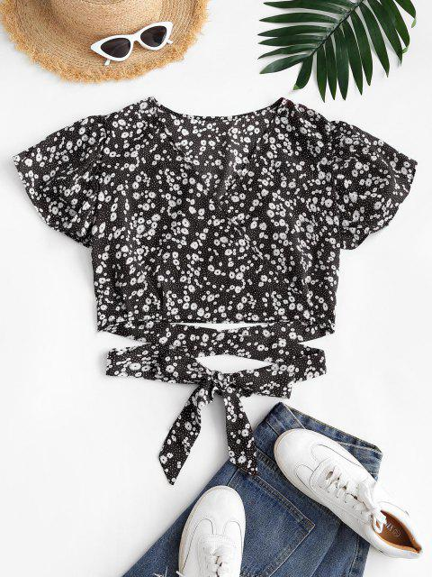 best Ditsy Floral Surplice Flutter Sleeve Blouse - BLACK M Mobile