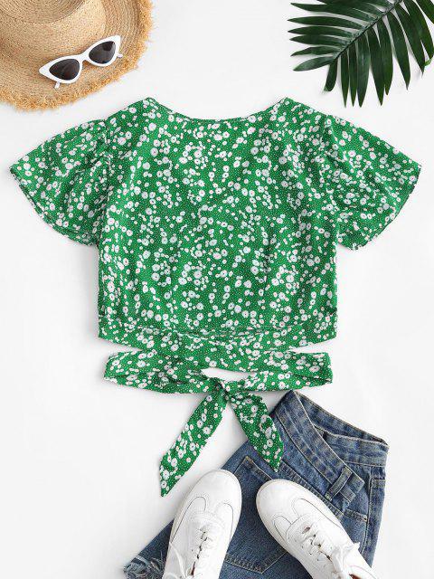 online Ditsy Floral Surplice Flutter Sleeve Blouse - GREEN S Mobile